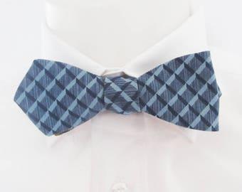 Mens diamond point  bowtie  - Reversible blue and brown geometric design