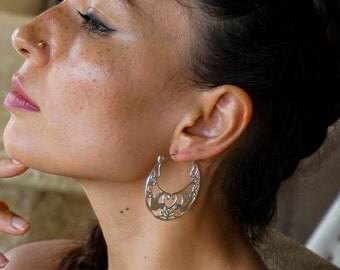 Love bird earrings - silver plated