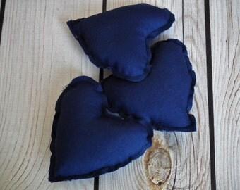 "Set of 3 NAVY stuffed heart bowl fillers, 3"" x 3"" (7cm x 7cm) blue hearts centerpiece, wedding favor, made to order"
