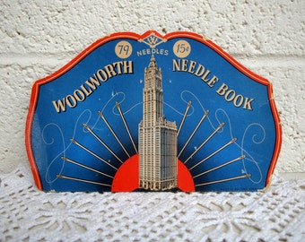 Free Shipping! Vintage WOOLWORTH SEWING NEEDLE Book: Retro Folder with Sewing Needle Supplies