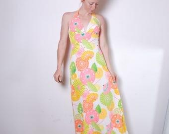 60s small halter maxi long dress swim coverup rainbow parasol print bra support summer beach dress womens vintage clothing Dee Weese LA