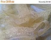 ON SALE 5 Yds Gorgeous Delicate Antique Lace Trim  | Lemon Cream | Pastel Yellow