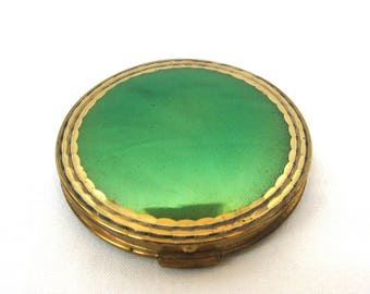 Vintage compact powder box with mirror / Puff box / Russian Flapjack from 80-s