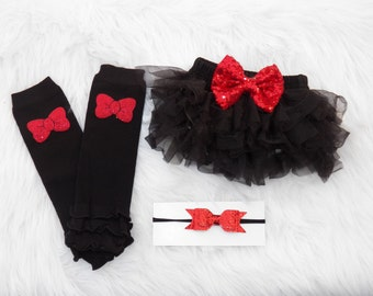 Black Red Sequin Bloomer Set Tutu Bloomers, Baby Bloomer Set, Christmas Tutu Bloomers