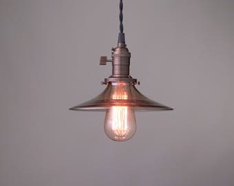 Pendant Lighting - Smoked Glass - Ceiling Light - Industrial Pendant - Vintage Pendant Lamp