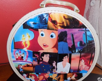 Ariel Little Mermaid theme round travel bag train case altered vintage luggage