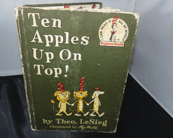 Vintage Dr. Seuss 1961 Theo LeSieg Ten APPLES Up On Top! 75 Word Vocabulary Book HC BCE