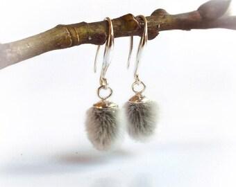 Pussy willow earrings, real plant jewelry, drop dangle botanical earrings