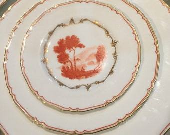 Vintage Dinnerware Set/42 Pieces/Royal Worcester/Service for 6/Bone China/The Chamberlain Pattern/ Hand Painted Landscape/Wedding Gift