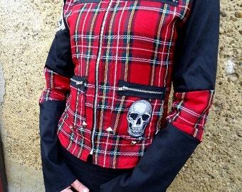 Jacket psychobilly punk zombie monster frankenstein zébré leopard skull roses red tartan rockabilly pin up tattoo dracula goth