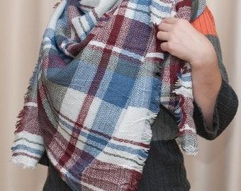 Classic multicolored tartan plaid scarf, square scarf, warm winter neck wrap, warm coverlet. Ukrainian Scarf. Hustka. NEW babushka scarf