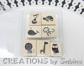 Stampin Up Wooden Stamps Set of 7 Fox & Friends Woodland Forest Zoo Animals Turtle Owl Whale Lion Monkey Giraffe Children Kids Theme (56)
