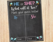 Bee Gender Reveal Guess sign baby shower chalkboard PRINTABLE poster boy or girl What will it bee