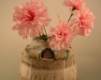 Dancing double walled vase - handmade ceramic vase - flower vase - speckled blue vase -  shades of gray -