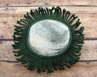 Table Decor Crocheted Lace Stone, Collectible Beach Art, Unique Gift for Home or Office, Handmade, Tiny Stitches, Green Cotton Thread