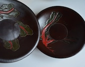 RESERVED FOR PHILIP Set of three wooden tea saucers, vintage Japanese chataku