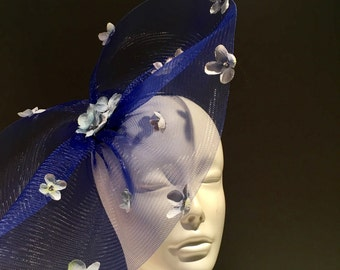 Blue Fascinator- Derby Hat- Floral Headpiece-Kentucky Derby- Polo Fascinator- Hydrangea Fascinator- NYC Fascinator -Royal Fascinator