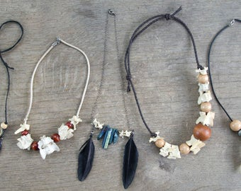 Animal Bone and Deer Antler Necklaces