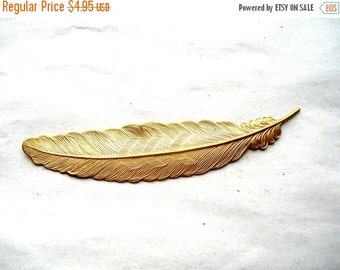 Christmas Sale Large Brass Feather Stamping - Large Feather Stamping - Long Feather