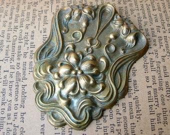 Art Nouveau Style Brass Embellishment - Brass Ornament - Stamped Brass