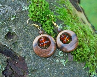 Plum Wood Amber Beads Circle Earrings, Nature Eco Friendly Brown Earrings, Woodland Rustic Boho Earrings, Amber Wood Circle Earrings