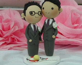 Gay Wedding Cake topper purple and white wedding theme clay doll, Same sex Clay Couple with tennis racket and tennis ball clay miniature
