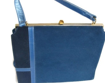 vintage Lennox handbag with mod blue on blue design, brass hardware, 1950's