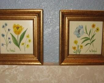 vintage artwork, miniature pair framed florals by Jo O'Bryant, 1970s