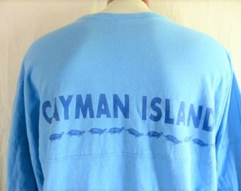 vintage 90's Cayman Islands Caribbean sky blue graphic long sleeve t-shirt tourist souvenir dark blue back front sleeve turtle logo print XL