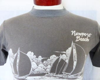 vintage 80's 1983 Newport Beach California Regatta gray graphic t-shirt back front white nautical yacht sail boat logo travel souvenir small