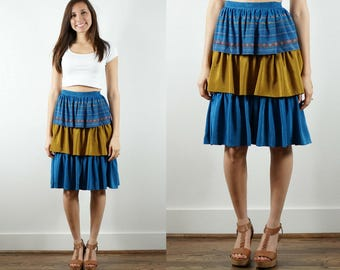 "Vintage Tiered Skirt / 1970s Layered Skirt / Ruffled Skirt / Blue Skirt / Gold Skirt / Ruffled Hem / Flounce Skirt / Gypsy Skirt / 29"" Waist"