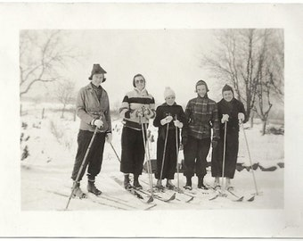 Old Photo Women Cross Country Skiing Hats Coats 1930s Photograph Snapshot vintage