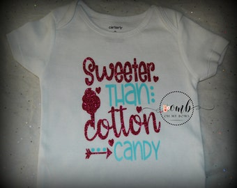 Sweeter than Cotton Candy Onesie - Bodysuit - Girl Onesies - Candy Onesies - Shirt - Cotton Candy - Personalized Onesie - Sayings - Quotes