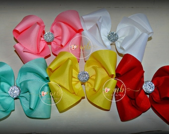 Infant Set of 5 Solid Color Boutique Style Bows - YOU CHOOSE COLORS - Hairbow - Hair Bow - Single Layer Bows - Baby Bows - Bow Bundle