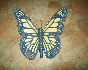 Wood butterfly wall decor folk art house decor yard garden vintage wooden hand made painted summer insect fly monarch country