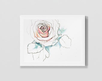 Rose Watercolor Illustration Print Pen and Ink Line Drawing Wall Art