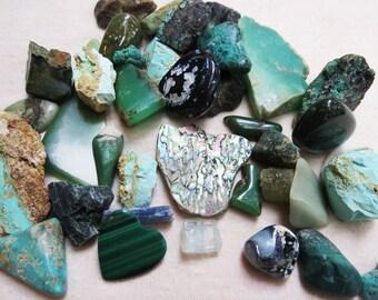 Sea Goddness Stone Lot Mermaid Rocks Greens and Blues Turquoise Chrysoprase Abalone