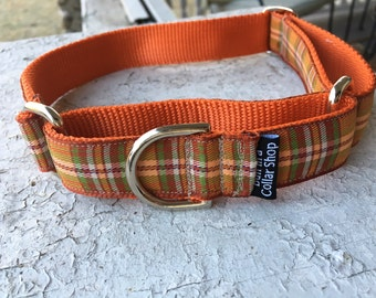 "Fenny's Fall Plaid - 1"" Martingale Collar"