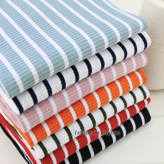 Rib Knit Cotton Fabric Ribbing Binding Stripes Knitting