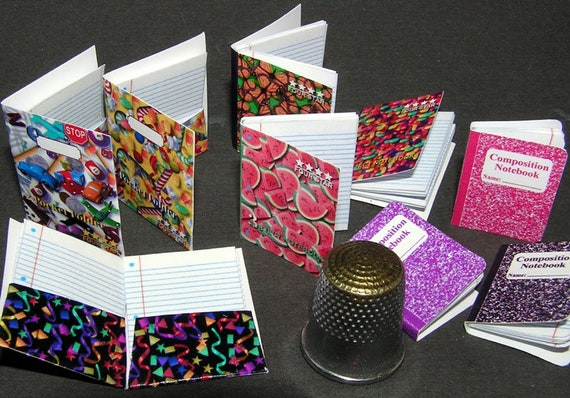 6 notebooks, paper minis, DIY kit from paper in miniature for the Doll House, Doll House, dollhouse miniatures # 40026
