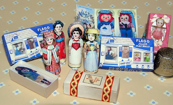 Vintage dolls collection, DIY kit from paper in miniature for the Doll House, Doll House, dollhouse miniatures # 40079