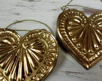 Vintage Wall Pockets Hearts Brass Wall Hangings
