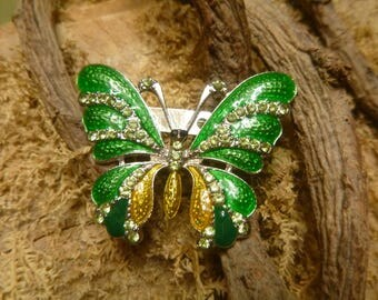 Green Cloisonné Enamel Butterfly Pin With Light Green Glass Rhinestones.   (T)
