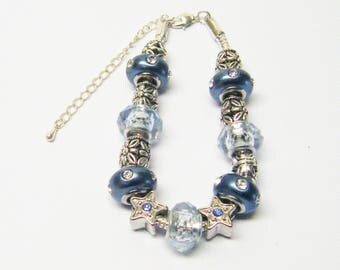 Cool Blue w/Silver Plated Big Hole Beaded Bracelet