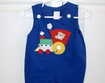 1960s Baby Boy's Overalls Romper . Vintage 60s 70s Royal Blue with Choo Choo Train & Bear Appliqué . Size 6 Months