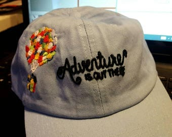 Embroidered Baseball Cap (Adventure is Out There, Up balloon house)