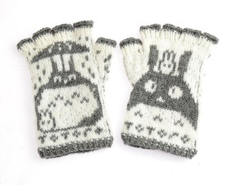 Totoro Fingerless Gloves - hand-knit from pure merino wool. Totoro Gloves Arm Warmers Merino Fingerless Gloves