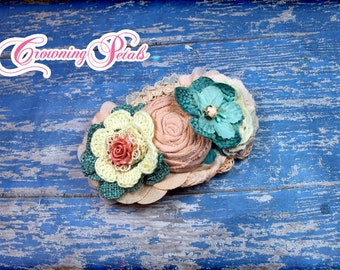 Teal, Blush, Ivory Hair Accessory, Turquoise, Light Coral Headband, Salmon Hair Clip, Aqua Hair Piece, Fabric Flower Hair Accessory, Cream,