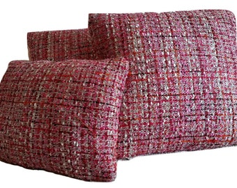 Three (3) Schumacher Babe's Tweed Maraschino Fuchsia 54231 Pillow Covers (B2)