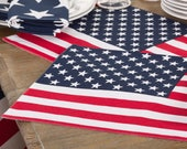 Patriotic Placemat | Red | Linens | Table | White Red | USA | 4th of July Placemat | Flag Placemat